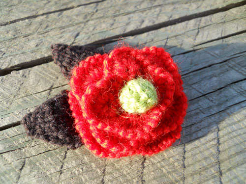 Crimson Wool Rose Pin